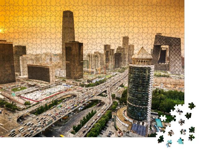 """Puzzle 1000 Teile """"Skyline des Finanzdistrikts in Peking, China, Sonne am Himmel"""""""