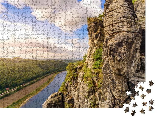 """Puzzle 1000 Teile """"Blick vom Aussichtspunkt Bastei auf die Elbe, Sächsische Schweiz, Deutschland"""""""