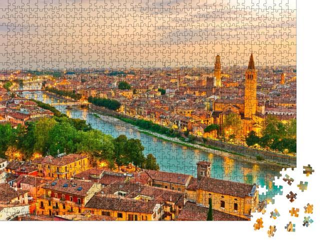 """Puzzle 1000 Teile """"Sonnenaufgang über dem historischen Stadtzentrum von Verona, Italien"""""""