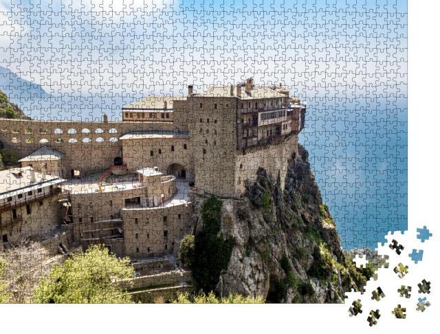 """Puzzle 1000 Teile """"Kloster Simonopetra auf dem Berg Athos"""""""