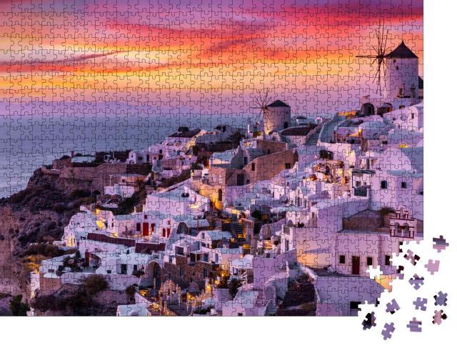 """Puzzle 1000 Teile """"Dorf Oia auf der Insel Santorin, Grichenlans"""""""