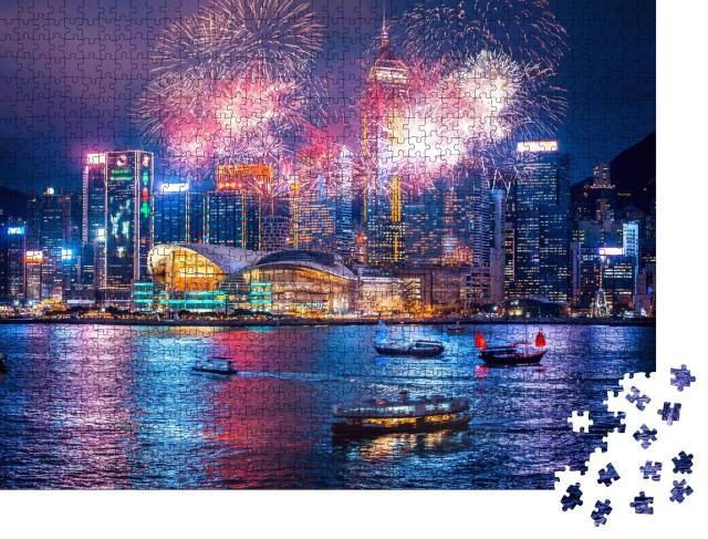 """Puzzle 1000 Teile """"Feuerwerk im Victoria-Hafen von Hongkong"""""""