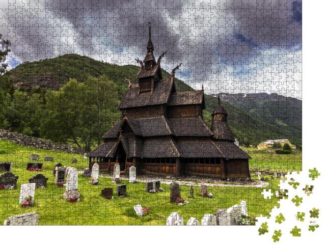 """Puzzle 1000 Teile """"Borgund Stabkirche in Borgund, Norwegen"""""""