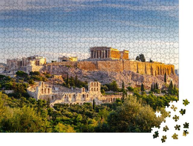 """Puzzle 1000 Teile """"Berühmtes Athener Wahrzeichen: Akropolis und Odeon des Herodes Atticus"""""""