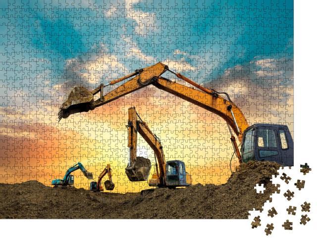"""Puzzle 1000 Teile """"Bagger arbeiten bei Sonnenuntergang auf der Baustelle"""""""