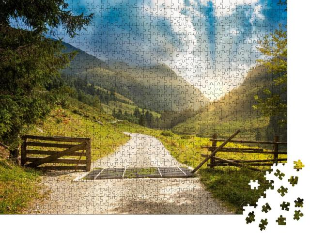 """Puzzle 1000 Teile """"Wanderweg im Zillertal, Österreich"""""""