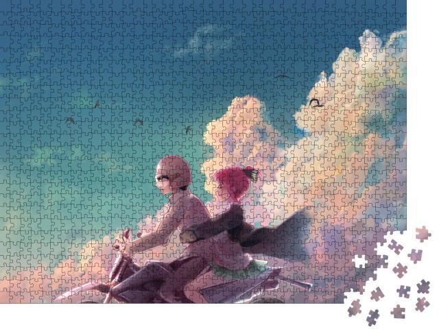 """Puzzle 1000 Teile """"Ästhetische Illustration eines Anime-Paares"""""""