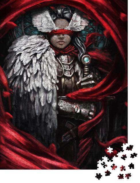 """Puzzle 1000 Teile """"Rittermädchen mit einem Umhang aus Federn """""""