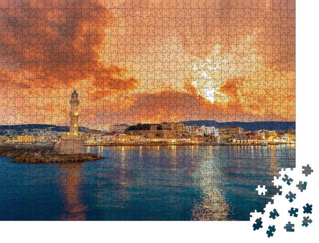 """Puzzle 1000 Teile """"Panorama des schönen alten Hafens von Chania mit Leuchtturm, Kreta"""""""