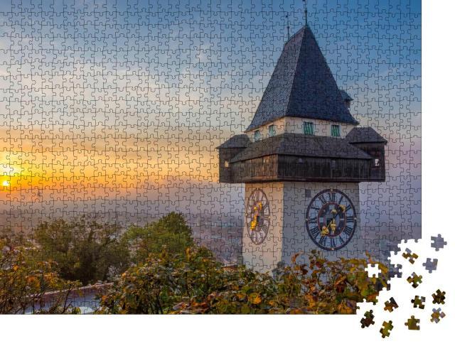 """Puzzle 1000 Teile """"Der berühmte Uhrenturm auf dem Schlossberg in Graz, Österreich"""""""