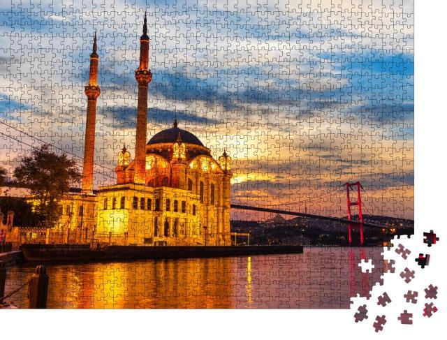 """Puzzle 1000 Teile """"Große Kaiserliche Moschee von Istanbul im Licht der Nacht"""""""