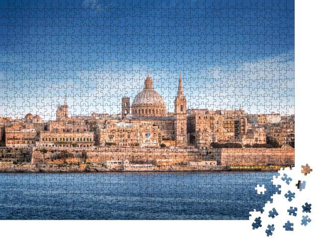 """Puzzle 1000 Teile """"Skyline von Valletta mit der St. Pauls Cathedral"""""""