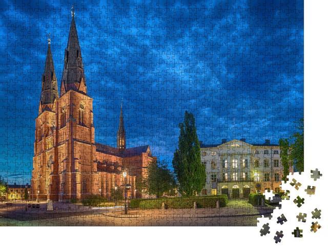 """Puzzle 1000 Teile """"Dom zu Uppsala am Abend, Uppsala, Schweden (HDR-Effekt)"""""""