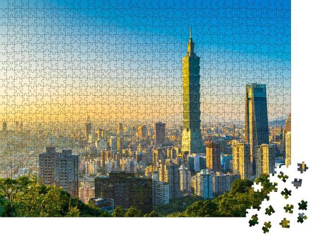 """Puzzle 1000 Teile """"Schönes Stadtbild mit dem Wolkenkratzer Taipei 101, Skyline in Taiwan"""""""