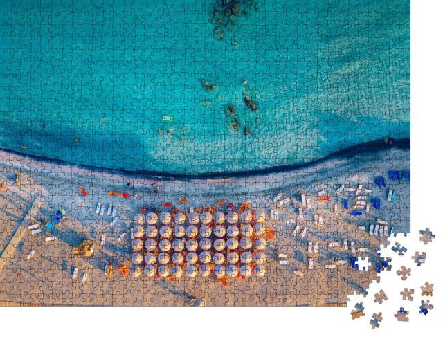 """Puzzle 1000 Teile """"Luftbild vom malerischen Strand auf Elafonissi, Kreta, Griechenland"""""""