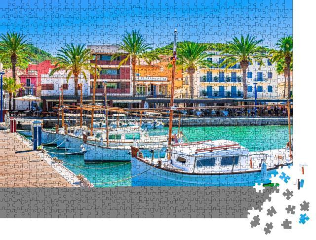 """Puzzle 1000 Teile """"Boote am Pier in Port de Andratx, Mallorca"""""""