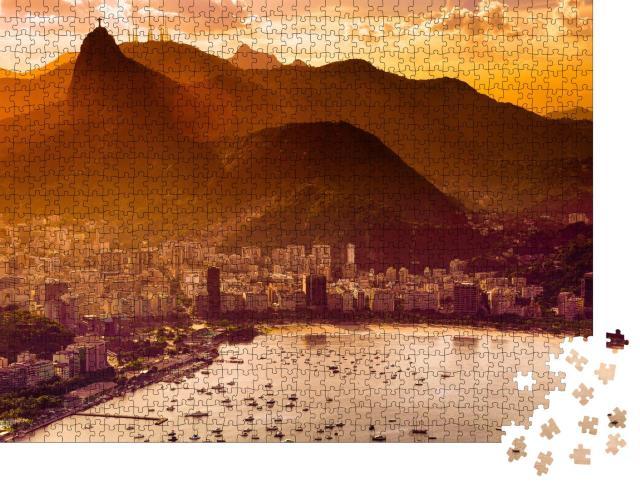 """Puzzle 1000 Teile """"Blick über das abendliche Rio De Janeiro, Brasilien"""""""