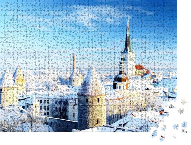 """Puzzle 1000 Teile """"Schöne verschneite Bäume: Winter in Tallinn, Estland"""""""