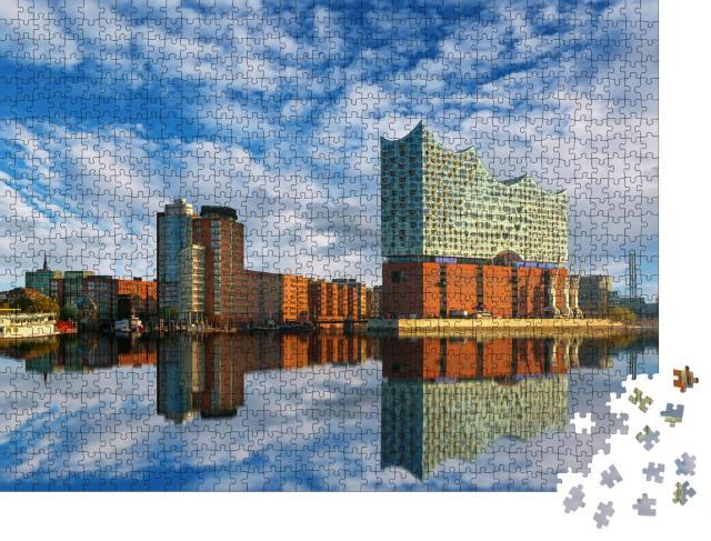 """Puzzle 1000 Teile """"Spiegelung der Elbphilharmonie in Hamburg"""""""