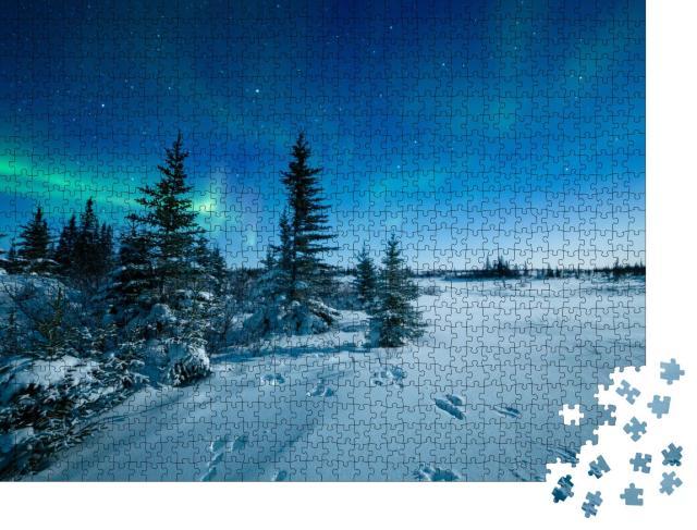"""Puzzle 1000 Teile """"Spuren im Schnee unter den Nordlichtern Aurora Borealis"""""""