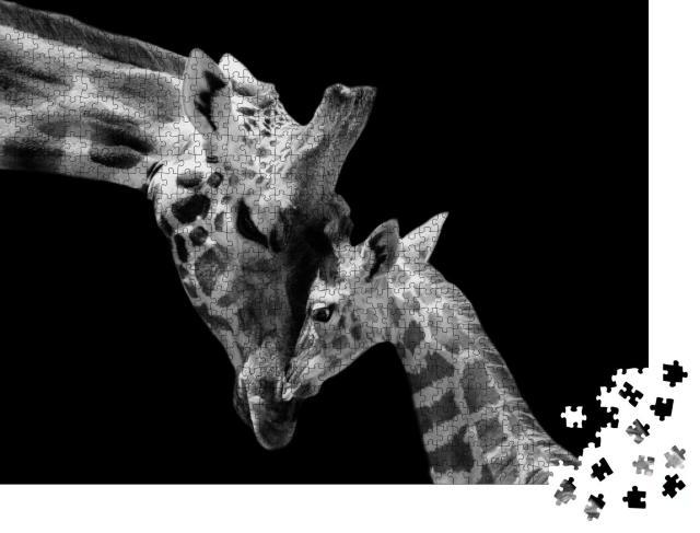 """Puzzle 1000 Teile """"Vertrauen: Giraffenmutter und Jungtier"""""""
