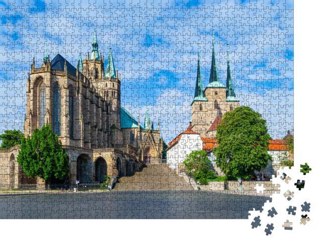 """Puzzle 1000 Teile """"Domberg von Erfurt, Deutschland"""""""
