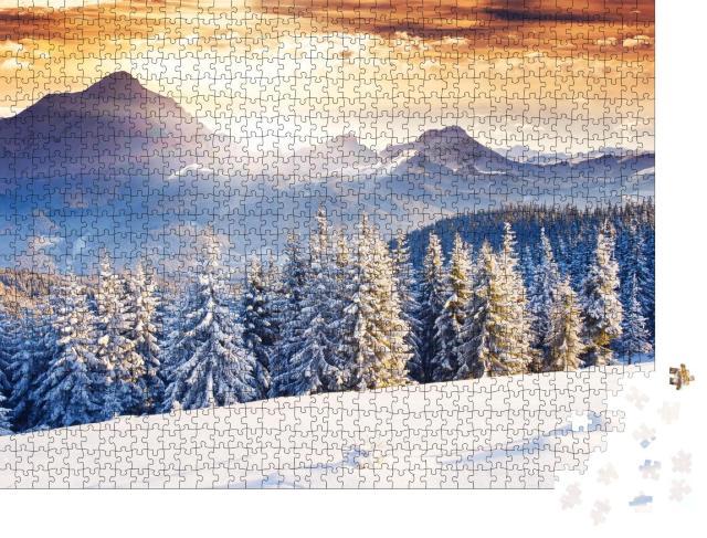 """Puzzle 1000 Teile """"Fantastische abendliche Winterlandschaft mit dramatischem Himmel"""""""