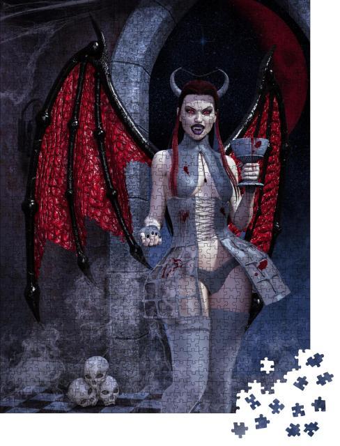 """Puzzle 1000 Teile """"Fantasy-Bild: weiblicher Dämon mit einem Kelch mit Blut, 3D-Illustration"""""""