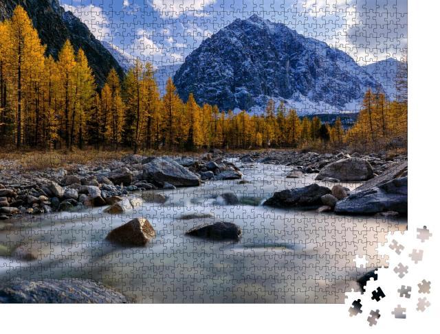 """Puzzle 1000 Teile """"Aktru-Fluss und Karatasch-Gipfel bei Sonnenuntergang, Westsibirien, Altai"""""""