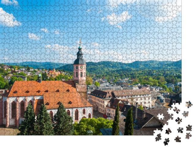 """Puzzle 1000 Teile """"Blick auf die Stadt mit Stiftskirche, Baden-Baden, Deutschland"""""""