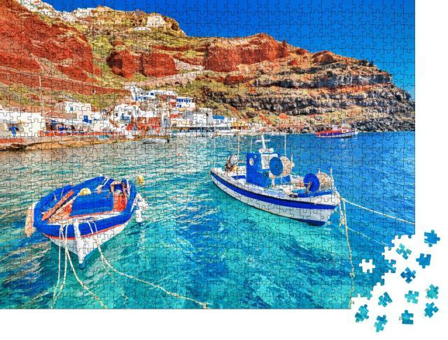 """Puzzle 1000 Teile """"Hafen von Oia auf Santorini mit zwei Fischerbooten, Ägäis, Griechenland"""""""