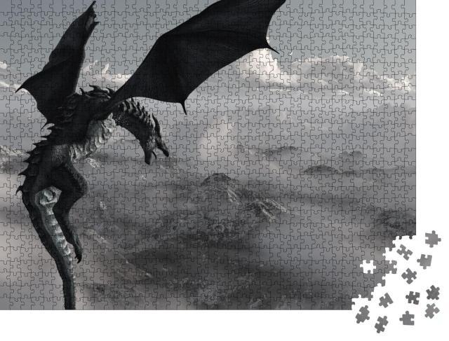 """Puzzle 1000 Teile """"Hochauflösender Eisdrache, 3D gerendert"""""""
