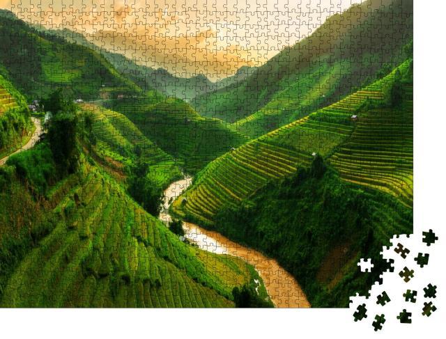 """Puzzle 1000 Teile """"Mu Cang Chai, Reisfeld-Terrassen in der Nähe von Sapa, Nordvietnam"""""""