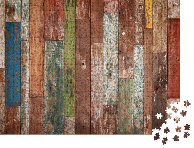 """Puzzle 1000 Teile """"Farbige Holzdielen in Grunge-Optik, Hintergrund"""""""