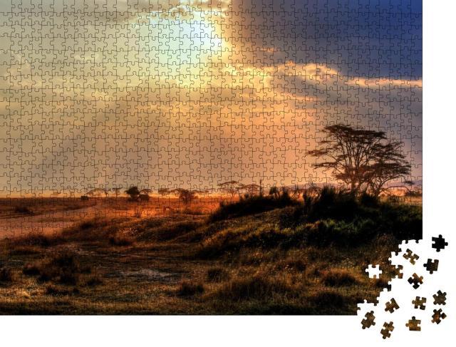 """Puzzle 1000 Teile """"Wunderschöner Sonnenuntergang in einem Nationalpark in Afrika"""""""