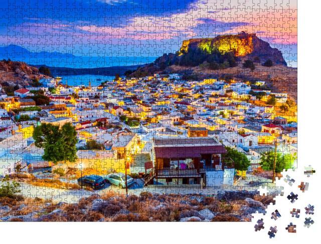 """Puzzle 1000 Teile """"Lindos: kleines weiß getünchtes Dorf und die Akropolis, Griechenland"""""""