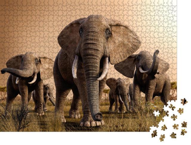 """Puzzle 1000 Teile """"Wunderschöne Szenerie einer Herde majestätischer afrikanischer Elefanten"""""""