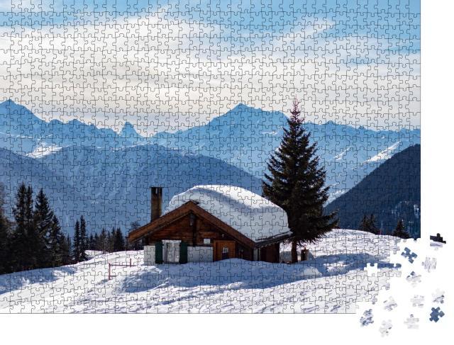 """Puzzle 1000 Teile """"Verschneite Berghütte in den Schweizer Alpen"""""""