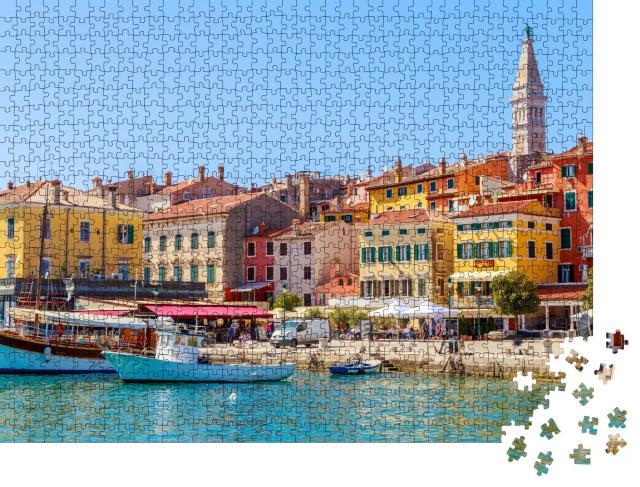 """Puzzle 1000 Teile """"Buntes Rovinj mit Hafen, Istrien, Kroatien"""""""