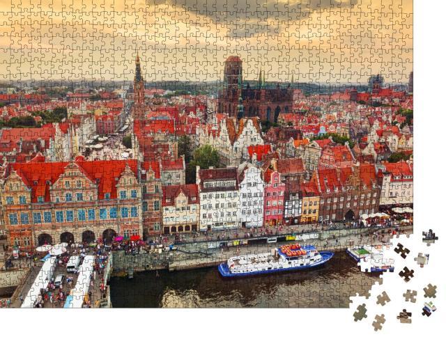 """Puzzle 1000 Teile """"Panorama der Altstadt von Danzig, Polen"""""""
