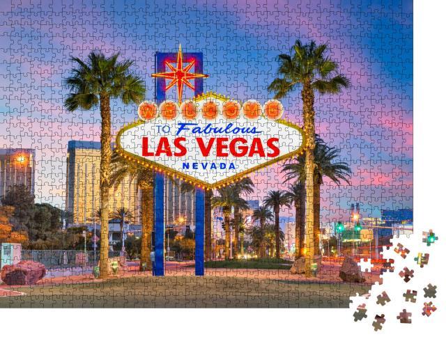 """Puzzle 1000 Teile """"Welcome to Las Vegas-Schild in der Abenddämmerung"""""""