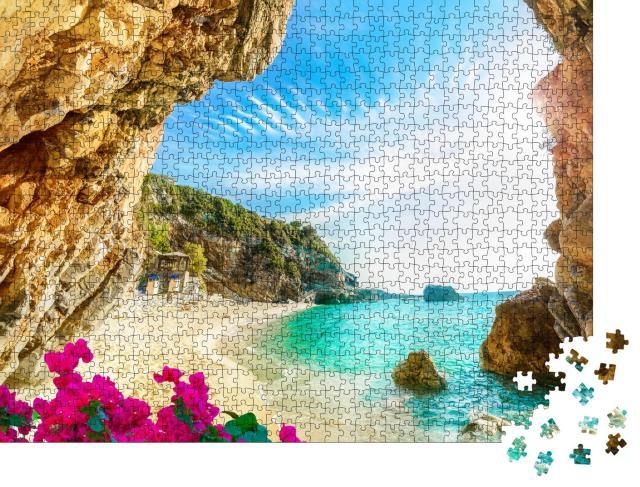 """Puzzle 1000 Teile """"Schöner Blick über das Meer und den Strand von Korfu, Griechenland"""""""