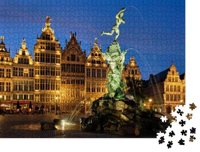 """Puzzle 1000 Teile """"Brabo-Statue auf dem Grote Markt in Antwerpen, Belgien"""""""