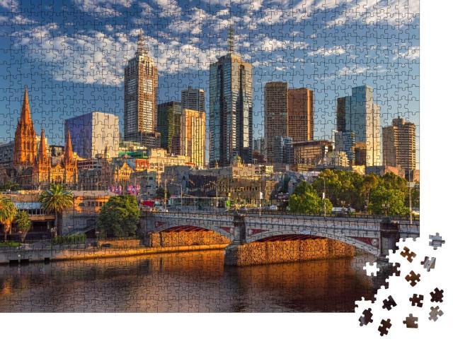 """Puzzle 1000 Teile """"Skyline von Melbourne im Sonnenaufgang"""""""