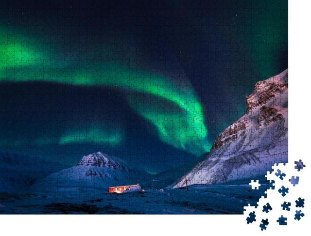 """Puzzle 1000 Teile """"Das polare Nordlicht über Spitzbergen, Norwegen"""""""