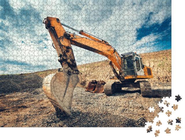 """Puzzle 1000 Teile """"Nahaufnahme eines Industriebaggers auf einer Baustelle"""""""
