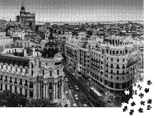 """Puzzle 1000 Teile """"Gran Via, Haupteinkaufsstraße von Madrid, Spanien"""""""