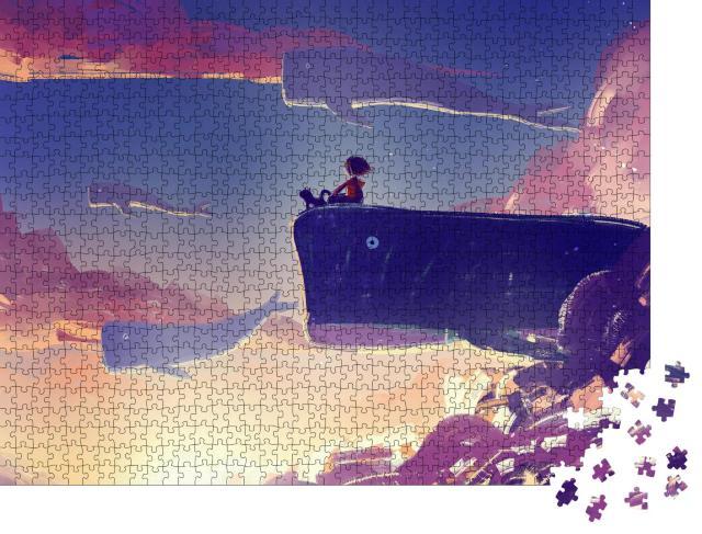 """Puzzle 1000 Teile """"Digitale Kunst: Malerei von kleinem Mädchen auf riesigem fliegendem Wal"""""""