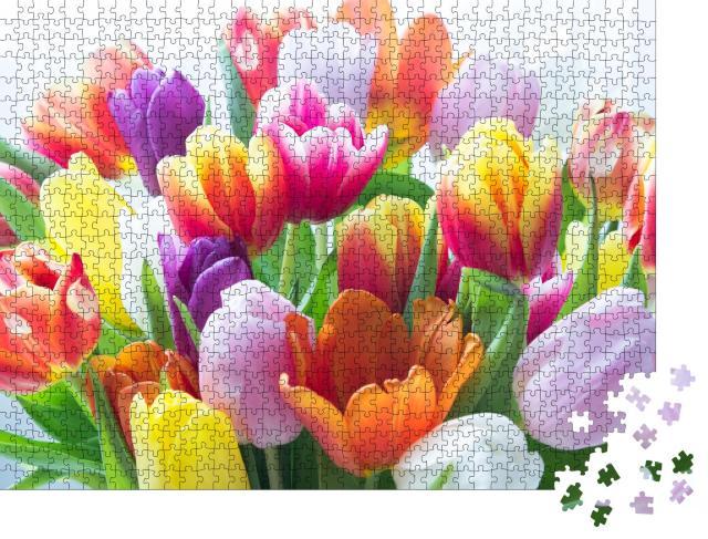 """Puzzle 1000 Teile """"Ein Strauß bunter Tulpen"""""""