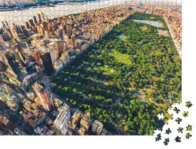 """Puzzle 1000 Teile """"Luftbild von Manhattan, New York City, Vintage-Design"""""""